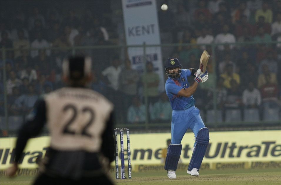 Virat Kohli of India in action during the first T20 match between India and New Zealand at Feroz Shah Kotla stadium in New Delhi.