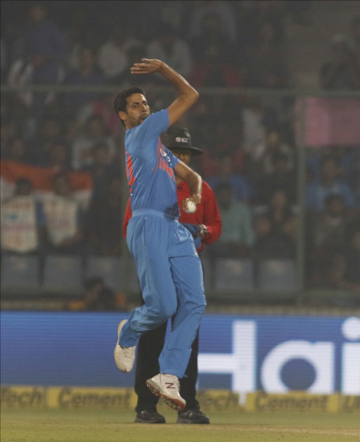 Ashish Nehra of India in action during the first T20 match between India and New Zealand at Feroz Shah Kotla stadium in New Delhi.