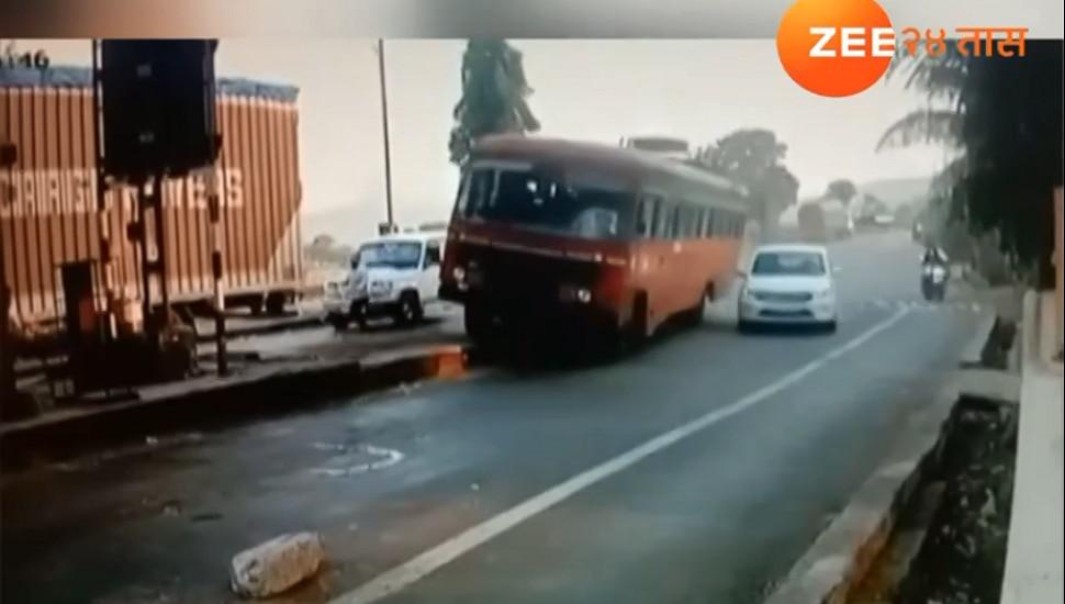 Video: नाशिक-नंदुरबार एसटी बसचा ब्रेक फेल, चालकाने अशी थांबवली बस