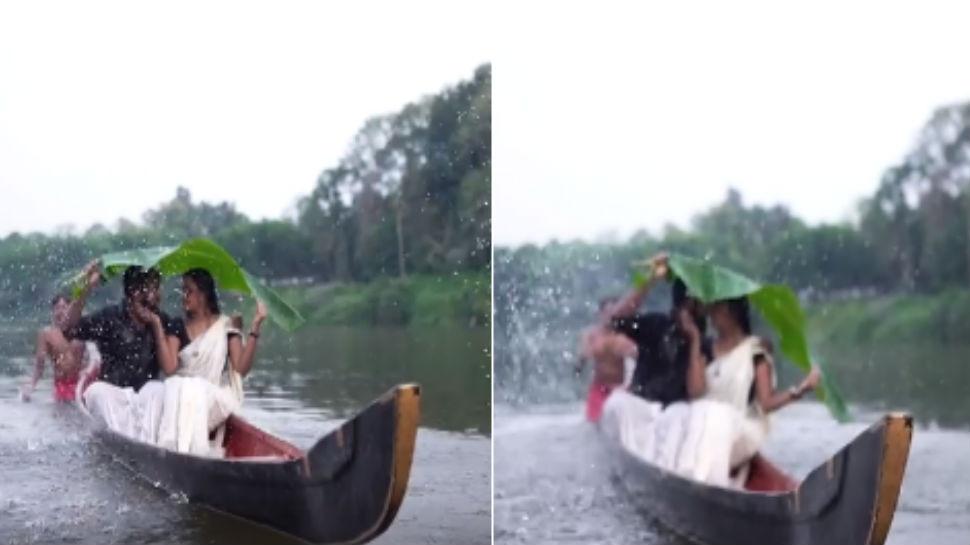 VIDEO : प्री- वेडिंग फोटोशूटमध्ये होडी उलटली अन्....