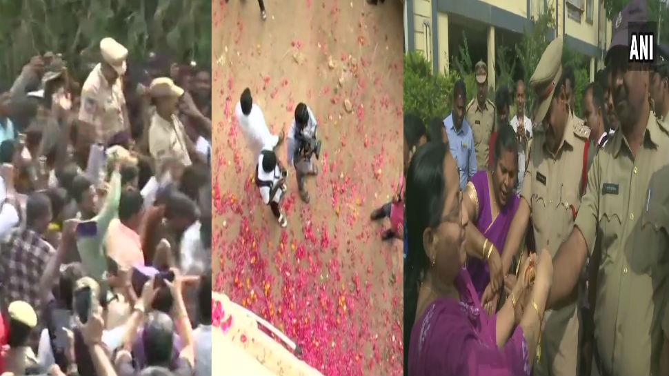 हैदराबाद एन्काऊंटरनंतर नागरिकांचा जल्लोष, पोलिसांवर फुलांचा वर्षाव