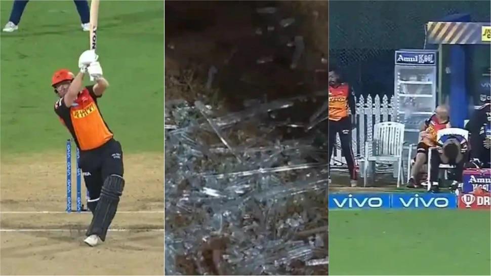 IPL 2021: एका सिक्सनं फ्रिजची फुटली काच, थोडक्यात वाचले हैदराबादचे खेळाडू