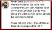 New Delhi Piyush Goyal Tweet On Maharashtra_s Train