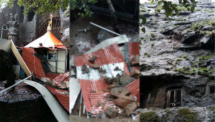 कार्ल्यात एकविरा देवी मंदिराजवळ दरड कोसळली