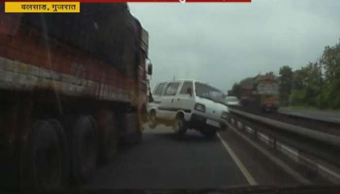मुंबई-अहमदाबाद महामार्गावर विचित्र अपघात
