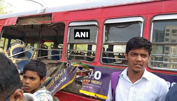 नवी मुंबईत क्रॉसिंग ओलांडणाऱ्या बसला ट्रेनची धडक; तीन जण जखमी