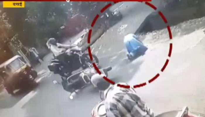 Vasai Tempo And Bike Accident Women Saves Her Life.
