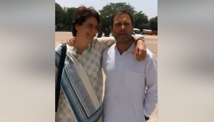 एयरपोर्टवर प्रियंका आणि राहुल गांधींची अचानक भेट, व्हिडिओ व्हायरल
