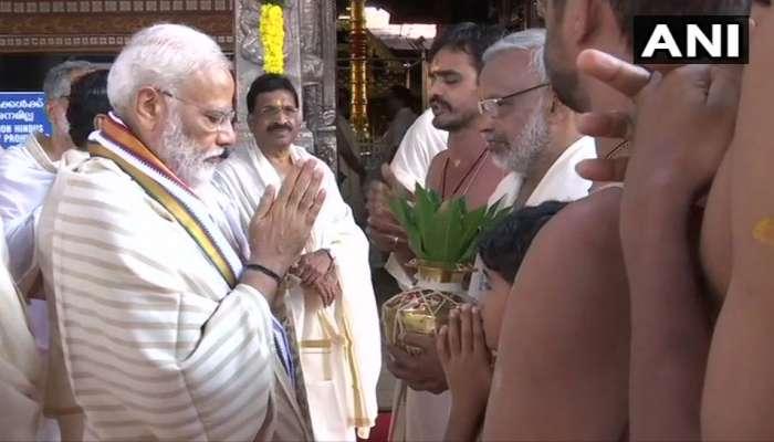 केरळच्या गुरुवायुर कृष्ण मंदिरात पंतप्रधान मोदी दाखल