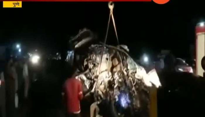 9 student die after car collided with a truck on pune solapur highway accident