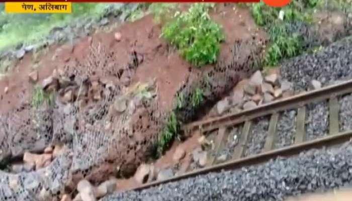 Raigad Alibaug Pen Landslide On Railway Tracks