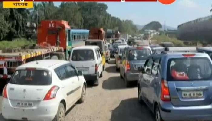 Raigad Heavy Traffic Jam At Mumbai Goa Highway