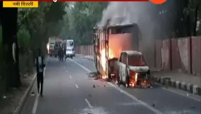New Delhi Transport Bus Set On Fire To Protest CAB