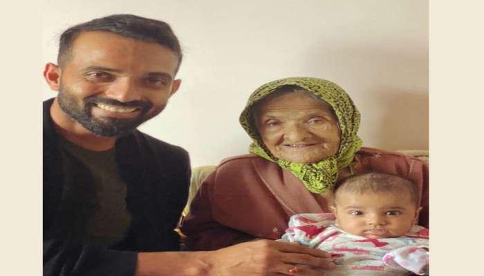 अजिंक्य रहाणे मुलीसोबत आजीला भेटायला