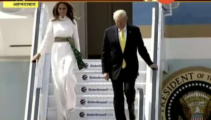 Gujrat Ahmedabad US President Donald Trump Along With Family Arrives In India
