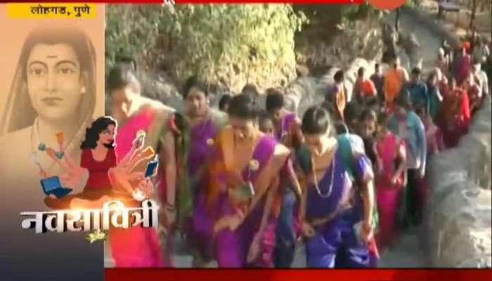 Pune 30 Womens Wearing Navari Saree Climbed Lohgad On Womens Day