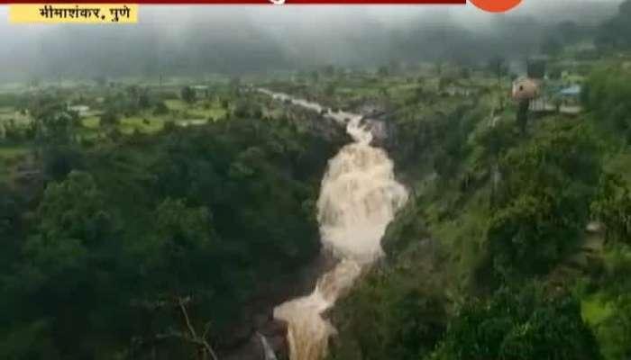 Pune Kondava Waterfall Begins After Heavy Rainfall