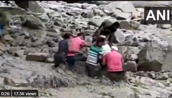 Viral Video : पुराच्या पाण्यात आमदार वाहून जाणार इतक्यातच....