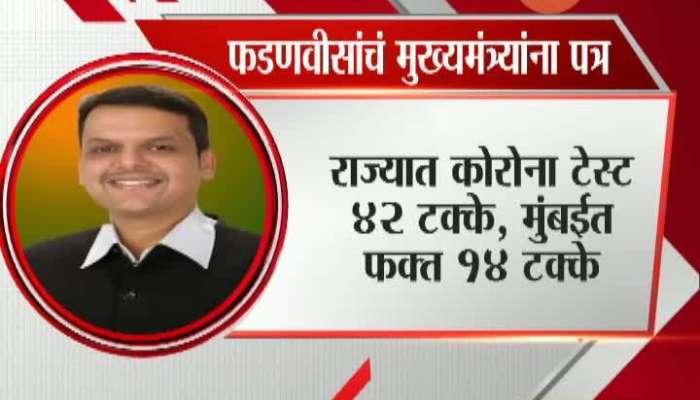 Nagpur Opposition Leader Devendra Fadanvis Write Letter To CM Uddhav Thackeray On Corona Test