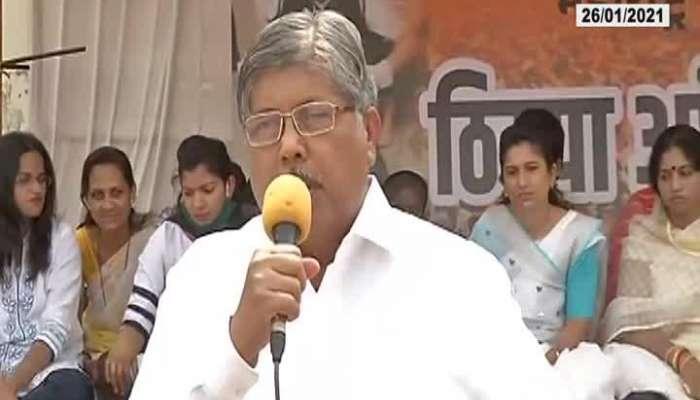 BJP President Chandrakant Patil At Kolhapur Sakal Maratha Morcha
