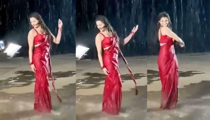 Urvashi Rautela चा लाल साडीत धमाकेदार डान्स , व्हिडिओ व्हायरल