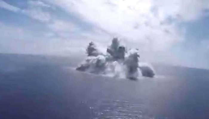 अमेरिकेनं समुद्रात फोडला  १८ हजार किलोचा महाकाय बॉम्ब, चीनला दाखवला ट्रेलर