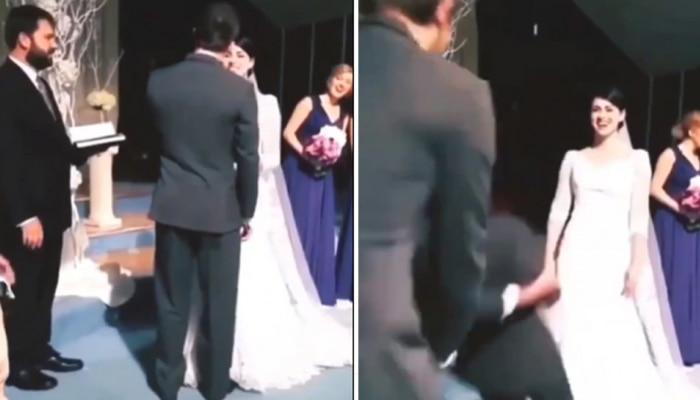 लग्नात नववधूची Kiss घेताच नवरदेव बेशुद्ध...पण का? पाहा व्हिडीओ