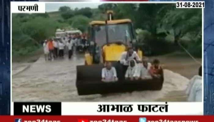 Parbhani Heavy Rain Use JCB To Rescue People