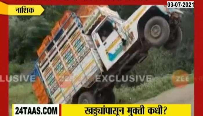 Nashik Farm Product Vehical Caught Accident Due to Potholes