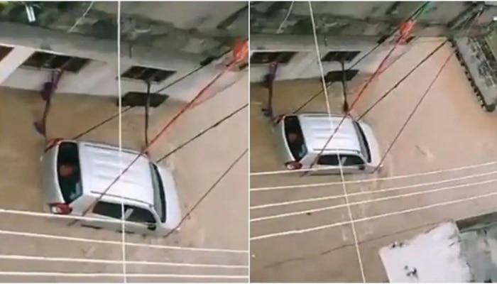 Desi Jugaad: पुराच्या पाण्यात कार वाहून जाऊ नये म्हणून तरुणानं लावली अशी शक्कलं, पाहा व्हिडीओ