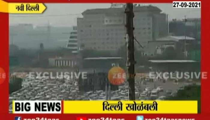 New Delhi Huge Traffic Jam For Farmers Bharat Bandh Andolan For Farmers Act